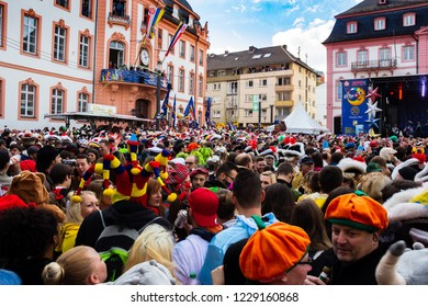 "Mainz, Germany - Nov. 11, 2018: Traditionally, each year at 11.11 at 11:11am the carnival season is opened in Mainz by shouting 3x ""Helau"" and celebrating in the streets"