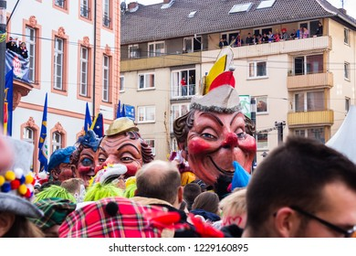 """Mainz, Germany - Nov. 11, 2018: Traditionally, each year at 11.11 at 11:11am the carnival season is opened in Mainz by shouting 3x """"Helau"""" and celebrating in the streets"""