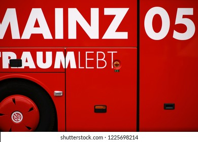 MAINZ, GERMANY - NOVEMBER 04: The team bus of 1. FSV Mainz at a home game of the Junior National League Southwest on November 04, 2018 in Mainz.
