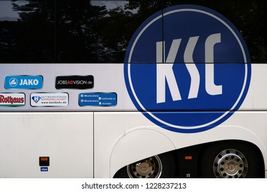 MAINZ, GERMANY - NOVEMBER 04: The team bus of the Karlsruhe Sports Clubs KSC in an away game of the Junior League Southwest on 04 November 2018 in Mainz.
