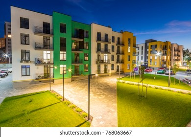 Mainz, Germany - November 12, 2017: New residential buildings at night