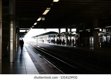 MAINZ, GERMANY - NOVEMBER 25: Silhouettes of travelers at a platform of Mainz Main Station on November 25, 2017 in Mainz.