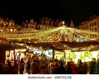 Mainz, Germany - November 28, 2016: Town decorated for Christmas holidays with Christmas market