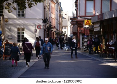 MAINZ, GERMANY - OCTOBER 04: Pedestrians and people in the old town of Mainz shopping on October 04, 2018 in Mainz.