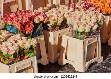 Mainz, Germany - October 13, 2018: bunches of roses in different colors for selling on the weekly market in Mainz, Germany.