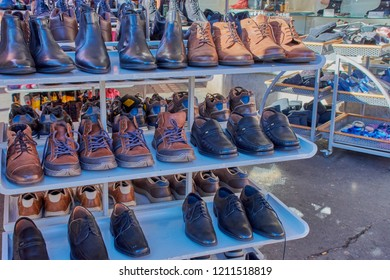 Mainz, Germany - October 13, 2018:Variety of men autumn shoes in front of a store in Mainz, Germany.