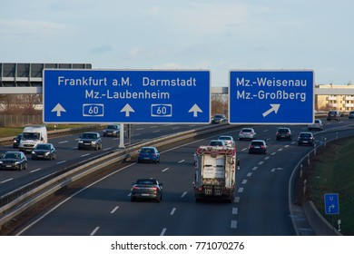 Mainz, Germany on Dec, 08 - 2017: Traffic on German highway A60 with direction Frankfurt a. M.