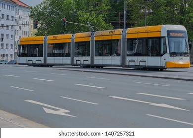 Mainz, Germany on May, 24 - 2019: A tramcar line 59 in Mainz is driving on Binger Strasse. Tram of the MVG, the traffic operator for busses and tramcars in Mainz.