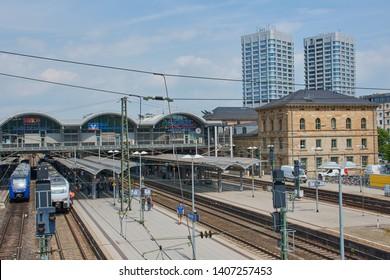 Mainz, Germany on May 24, 2019: Mainz main railway station - Mainz Hauptbahnhof - railway station for city of Mainz in German state of Rhineland-Palatinate.
