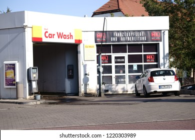 MAINZ, GERMANY - SEPTEMBER 15: A car is parked in front of a car wash at the Shell petrol station on September 15, 2018 in Mainz.