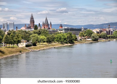 Mainz, Germany - town in Rhineland-Palatinate region. Cityscape skyline with river Rhine.