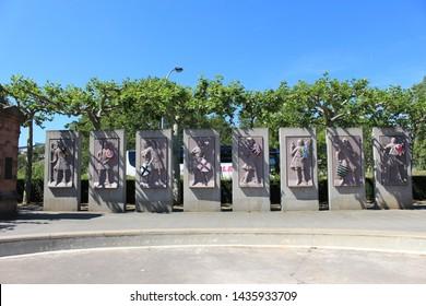 Mainz, Hessen/Germany - June 09th 2019: Monument on Rhein quai in Mainz