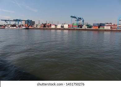 Mainz, Hessen/Germany-June 03nd 2019:  Cargo port on the Rhine river in Mainz
