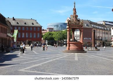 Mainz, Hessen/Germany-June 09th 2019: Marktbrunnen - Market fountain in Mainz