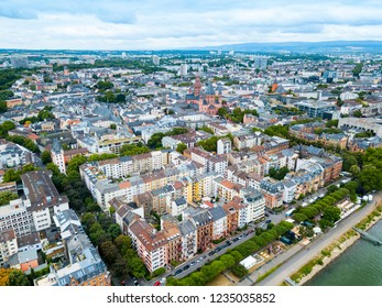 Mainz old town aerial panoramic view. Mainz is the capital and largest city of Rhineland-Palatinate state in Germany
