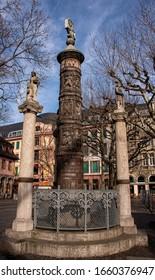 Mainz, Rhineland-Palatinate, Germany, 22nd Feb 2020. An ancient memorial near Mainz Cathedral.