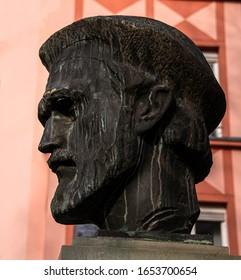 Mainz, Rhineland-Palatinate, Germany, Feb 22 year 2020. Statue of Johannes Gutenberg in Market place.