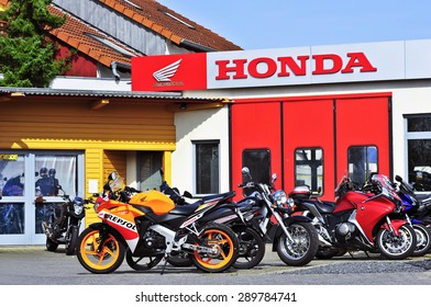 MAINZ,GERMANY-APRIL 16:HONDA motorcycles store on April 16,2015 in Mainz, Germany.Honda Motor Co., Ltd. is a Japanese  manufacturer of automobiles, motorcycles and power equipment.