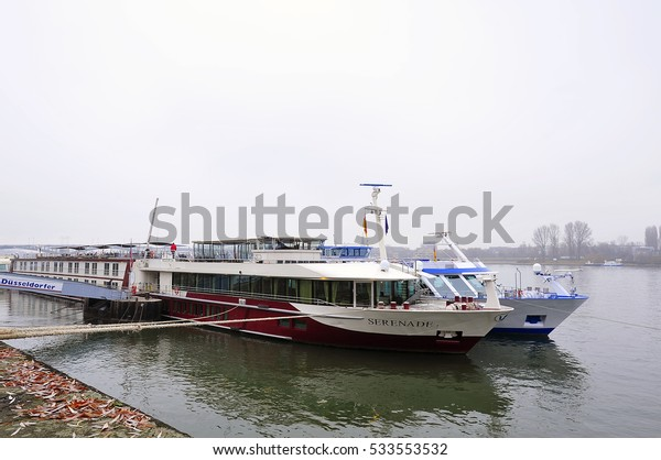 MAINZ,GERMANY-DEC 08:View of the Rhine with the passenger boat SERENADE in Mainz  on December 08,2016 in Mainz,Germany.