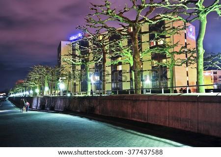 Mainzgermanyfeb 10 Hilton Hotel Night On February Stock Photo Edit