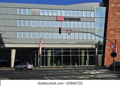 MAINZ,GERMANY-FEB 15: modern DB Schenker office building on February 15,2015 in Mainz, Germany.DB Schenker is a wholly owned subsidiary of Deutsche Bahn AG that focuses on logistics.