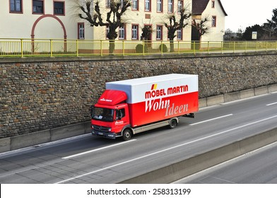MAINZ,GERMANY-FEB 20: furniture truck MOBEL MARTIN on the highway on February 20,2015 in Mainz,Germany.