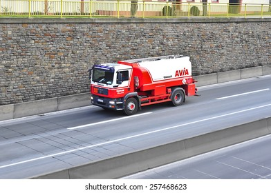 MAINZ,GERMANY-FEB 20:MAN truck on the highway on February 20,2015 in Mainz,Germany.MAN SE, formerly MAN AG, is a German mechanical engineering company and parent company of the MAN Group