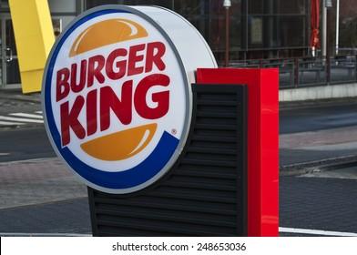 MAINZ,GERMANY-JAN 31:Burger King Restaurants logo by night on January 31,2015 in Mainz, Germany.Burger King, often abbreviated as BK, is a global chain of hamburger fast food restaurants,United States