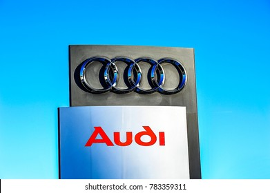 MAINZ,GERMANY-JANUARY 05,2017:AUDI logo.Audi AG is a German automobile manufacturer that designs, engineers, produces, markets and distributes luxury vehicles.