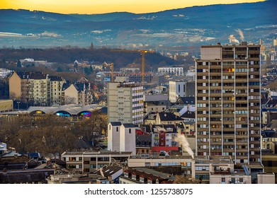 Mainz,Germany-January 19,2017: The city of Mainz in the evening sun.