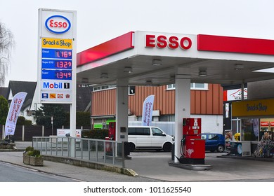 MAINZ,GERMANY-JANUARY 27,2018:ESSO gas station.Esso- trading name for ExxonMobil and its related companies.Exxon Mobil Corporation-American multinational oil and gas corporation headquarte in Texas.