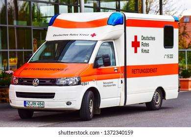 Mainz,Germany-June 10,2017:Van of DEUTSCHES ROTES KREUZ.