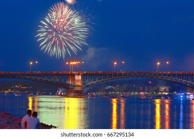 MAINZ,GERMANY-JUNE 26: A view of Mainz and the Rhine River at night on June 26,2017 in Mainz,Germany.