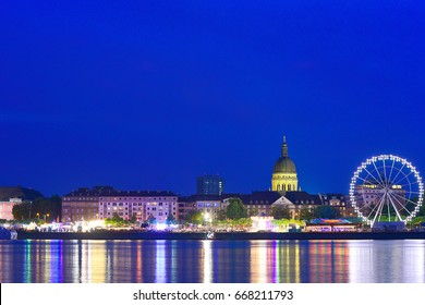 MAINZ,GERMANY-JUNE 26:View of Mainz  at night on June 26,2017 in Mainz,Germany.