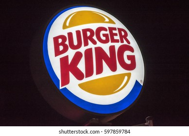 MAINZ,GERMANY-MARCH 09:BURGER KING logo at night on March 09,2017 in Mainz,Germany.