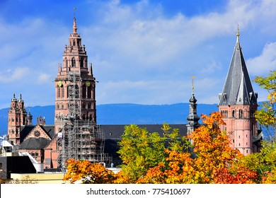 MAINZ,GERMANY-OCTOBER 09,2017: view on the St. Martin's Cathedral.Mainz Cathedral or St. Martin's Cathedral is located near the historical center and pedestrianized market square of the city of Mainz,