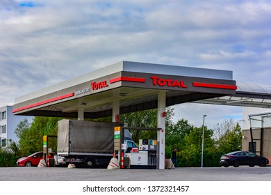 Mainz,Germany--September 10,2017:TOTAL fuel and gas station.Total SA is a French oil company.