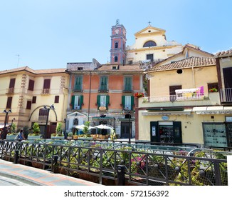 Maiori, Amalfi Coast, Italy - July 2, 2016: Collegiate Church Santa Maria a Mare and main street in Maiori.