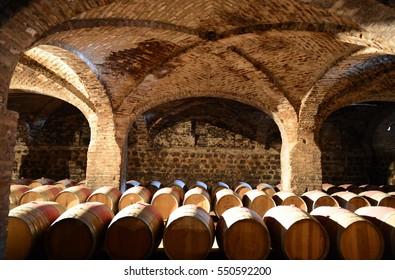 MAIPO VALLEY, CHILE - NOVEMBER 25,2014:Wine barrels at the winery Santa Rita.