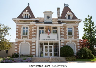 Mairie de Andernos, the town hall of city near Arcachon, France liberté egalité fraternité is symbol of french republic means freedom equality fraternity