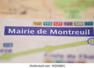Mairie de Montreuil Station on the Paris Metro map.
