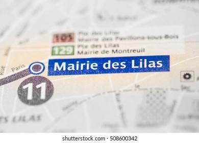 Mairie des Lilas Station. 11th Line. Paris. France