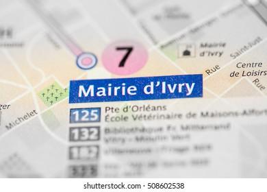Mairie d'Ivry Station. 7th Line. Paris. France