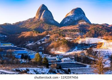 Maisan mountain in winter at Jinan city,South Korea