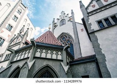 Maisel synagogue in Prague, Czech Republic. Architectural theme. Religious architecture. Travel destination. Blue photo filter.