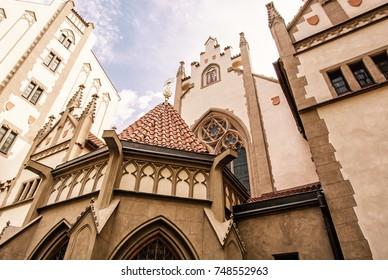 Maisel synagogue in Prague, Czech Republic. Architectural theme. Religious architecture. Travel destination. Yellow photo filter.
