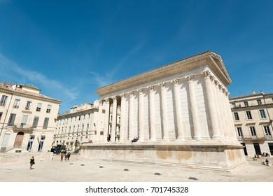 Maison Caree or Square House, the best preserved Roman temple, in Nimes, Southern France