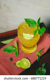 """"""" Mai-thai """"  Yellow Cocktail with Lime , Mint"""