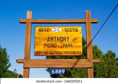 Maitland, Canada - July 08, 2019: Anthony Provincial Picnic Park located in Hants County, Nova Scotia.