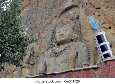 Maitrey the incarnation of Buddha in future is carved out on a huge stone on Kargil Leh road. India